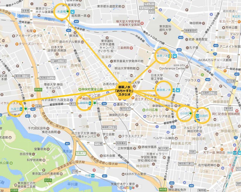 中央総武線 御茶ノ水 レンタルスタジオの周辺地図