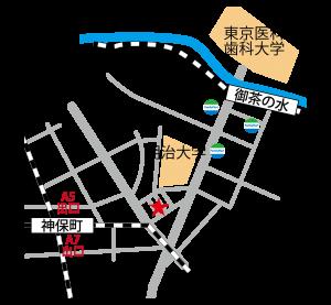 御茶ノ水・神保町のレンタルスタジオ おちゃすた の チラシ につかえる地図