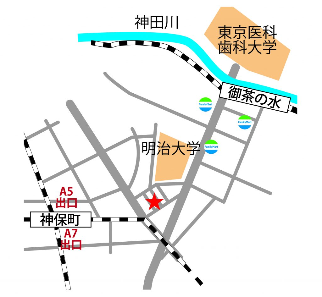 御茶ノ水・神保町のレンタルスタジオ「おちゃすた」の地図