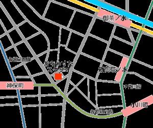御茶ノ水・神保町の レンタルスタジオ 「おちゃすた」の地図